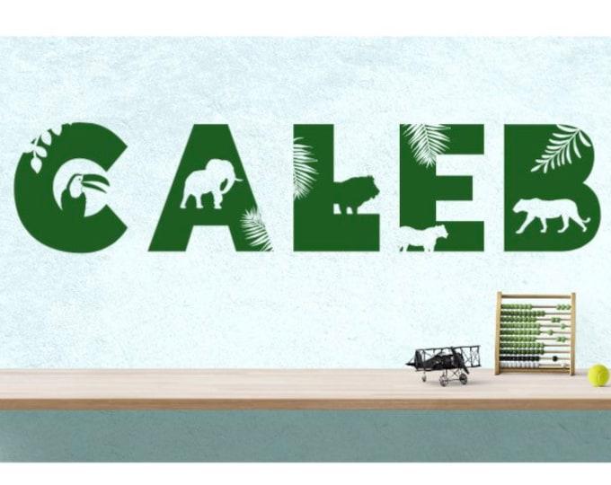 Safari themed name wall decal. Safari animal decals.  African animal decals. Animal name decals. Animal themed decals. Animal decals