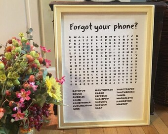 Forget your phone? Bathroom word search sign. Funny bathroom signs. Bathroom crossword sign powder room sign restroom sign bathroom decor