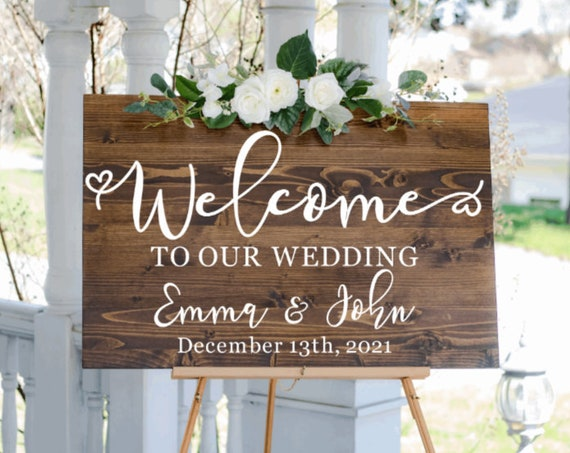 Welcome sign stickers. DIY Wedding sign stickers. Welcome sign stickers. Wedding sign decals.  Custom wedding decals. Welcome sign stickers