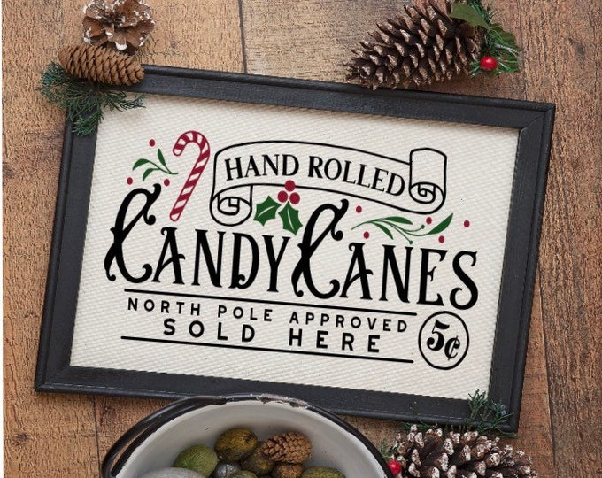 Candy Cane Christmas sign. retro Hand rolled candy cane sign. Christmas signs. North Pole approved sign. Christmas decor. Holiday decor