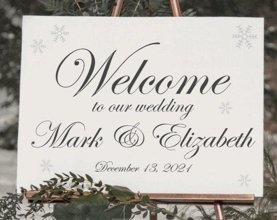 Winter Wedding Welcome sign decals. DIY Wedding sign stickers. Christmas wedding sign stickers. Custom Wedding decals.  Winter wedding signs