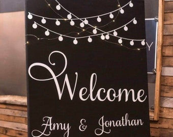 Wedding sign decal. Welcome sign with string lights design. Choose your font! Choose your saying! Wedding decal for sign.