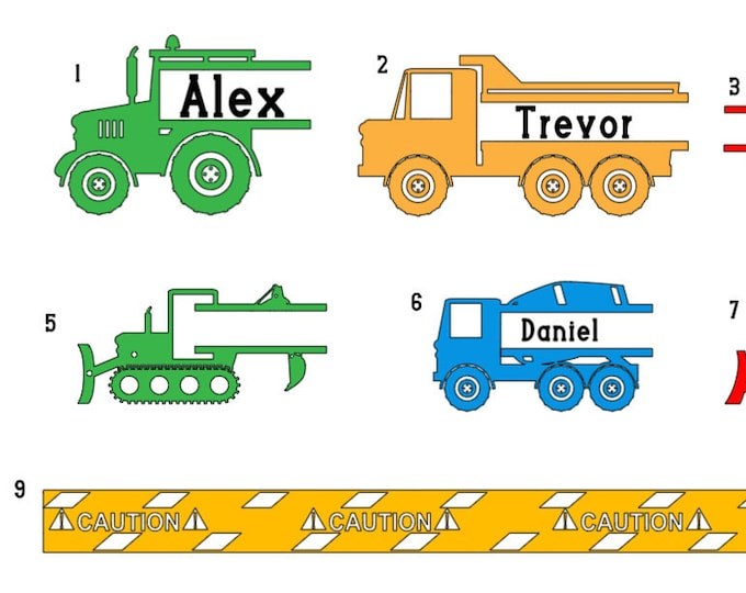 Construction theme name wall decal. Boy bedroom decals.  Construction name decals. Construction  stickers. Truck name stickers for wall