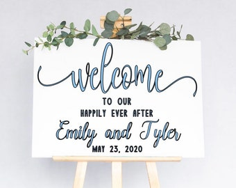 Welcome wedding sign decal. Wedding decals. Welcome to our Happily Ever After decal. Welcome decals. Wedding sign decals
