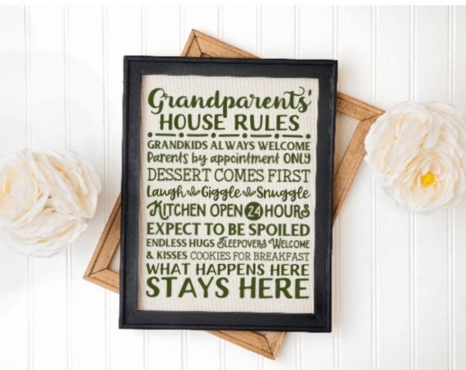 Granparents' house rules. Grandma's house rules, grandpa, nana, Gigi, gift for grandparents, Mother's Day gift. Custom sign. Personalized