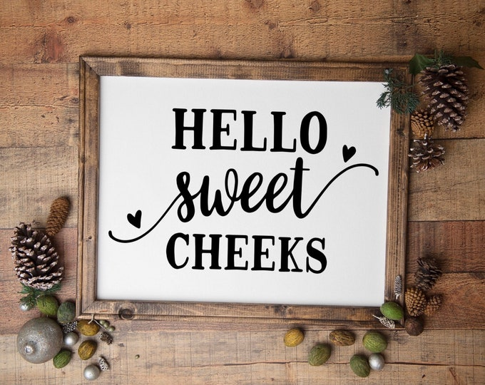 bathroom signs Hello Sweet Cheeks bathroom sign funny restroom signs guest bath decor powder room sign half bath sign