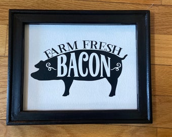 Farm fresh bacon farmhouse sign farm sign wood country sign pig sign rustic farm signs farm sign fresh bacon signs pig signs country decor