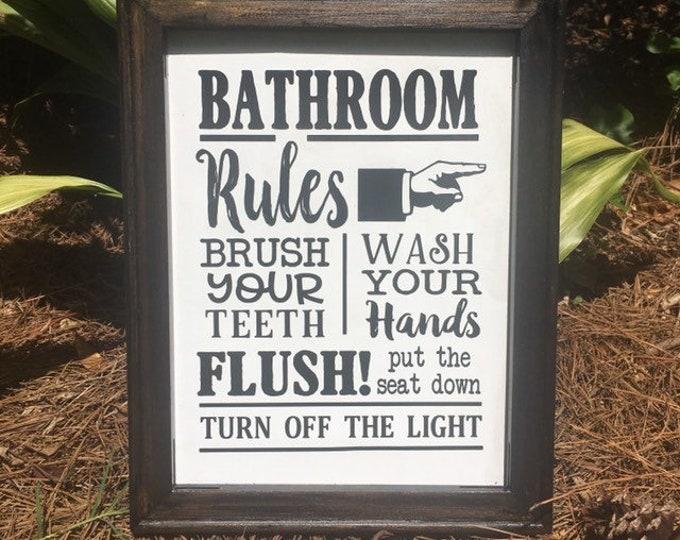 Bathroom rules sign  bathroom signs  guest bath decor powder room signs powder room decor guest bath signs wood framed