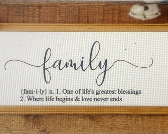 Family definition sign. Family signs.  Wood framed sign about family. Definition of family.  Custom family sign  signs about family