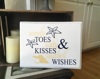 Beach house sign. Sandy toes salty kisses and seashell wishes. Solid wood beach signs summer signs