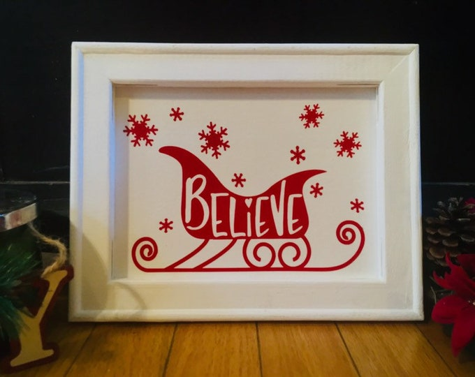 Believe sign  Believe signs Christmas signs Christmas sign Santa sleigh sign Holiday sign Christmas decor Holiday decor Santa sleigh signs
