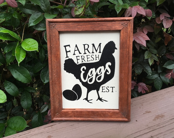 Farm Fresh Eggs sign rustic chicken hen picture sign for kitchen farmhouse family est date can be personalized with family farm name