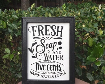 bathroom signs. Fresh soap and water. hand towels extra. bathroom sign. powder room decor. restroom signs.   funny bathroom signs. Framed