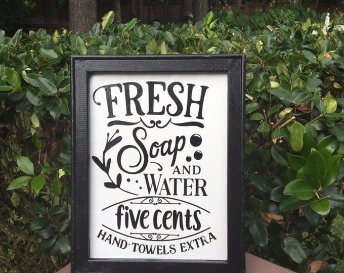 bathroom signs Fresh soap and water hand towels extra bathroom sign powder room decor restroom signs   funny humor