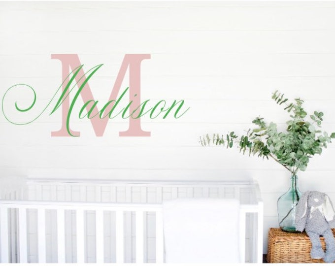 Nursery wall decal. Monogram name and letter decals. Nursery name stickers. Custom name decal for wall. Over the crib name stickers