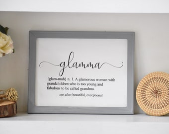 Glamma Definition sign. Grandma sign. Glamma signs. Mother's Day sign for grandma.  Grandmother sign. Gift for Grandmother.