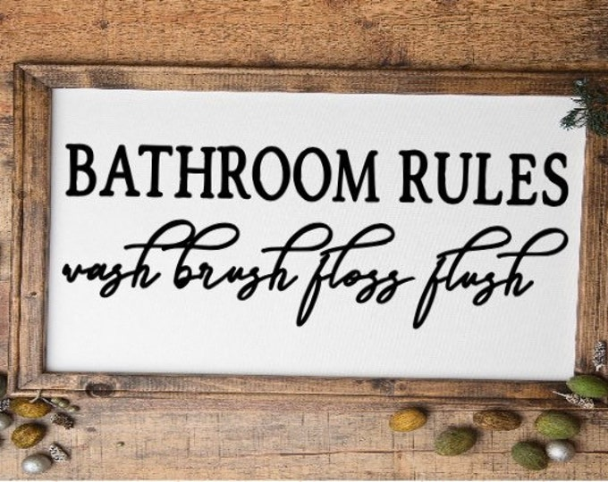 Bathroom rules sign. Wash Brush Floss Flush. Bathroom sign. Restroom sign. Bathroom signs. Powder room sign. Guest bath sign Bathroom decor