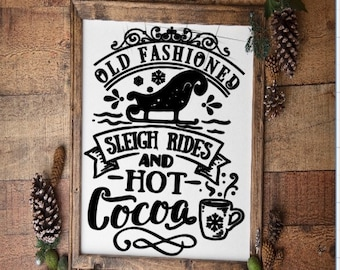 Retro Christmas sign winter sign Old Fashioned Sleigh Rides and Hot Cocoa sign sleigh rides sign winter decor rustic holiday decor