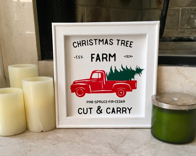 Christmas tree farm sign  red truck signs cut & carry tree farm Christmas signs holiday signs Christmas decor red truck Christmas tree sign
