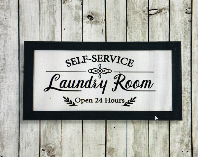 Laundry room signs. Laundry room sign. Laundry Room Self Service open 24 hours sign. Laundry room decor. Laundry signs. Laundry sign.