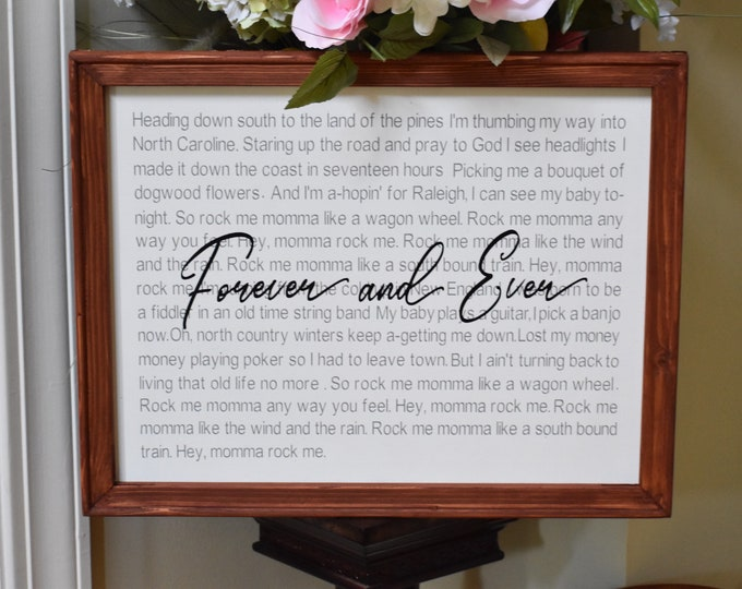 Custom song lyrics sign with quote. Wedding song sign. Favorite song lyrics sign. Anniversary gift. Wood framed custom song sign.