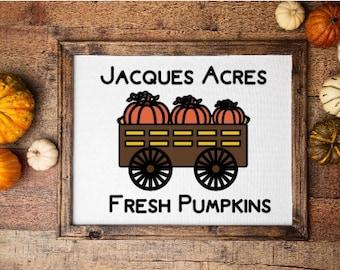 Harvest sign custom fall sign with name acres pumpkins pumpkin wagon sign farm fresh pumpkins Harvest decor fall decor Autumn sign