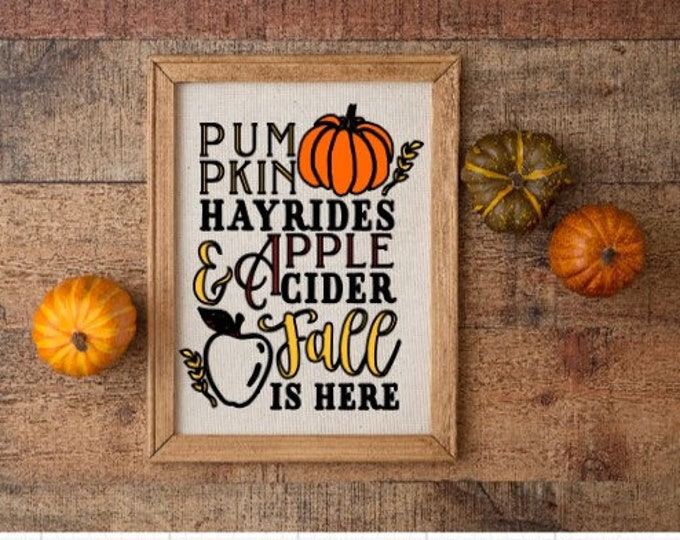 Fall sign Pumpkin hayrides apple cider Fall is here signs Autumn decor Autumn signs  fall signs pumpkin sign wood framed canvas