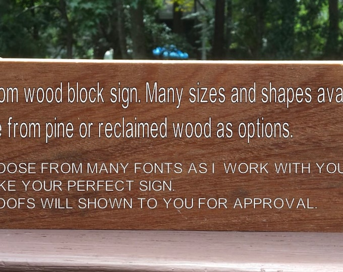 Custom wood signs. Customized wood sign. Personalized block signs shelf decor shelf signs reclaimed wood or larger solid wood signs signs.