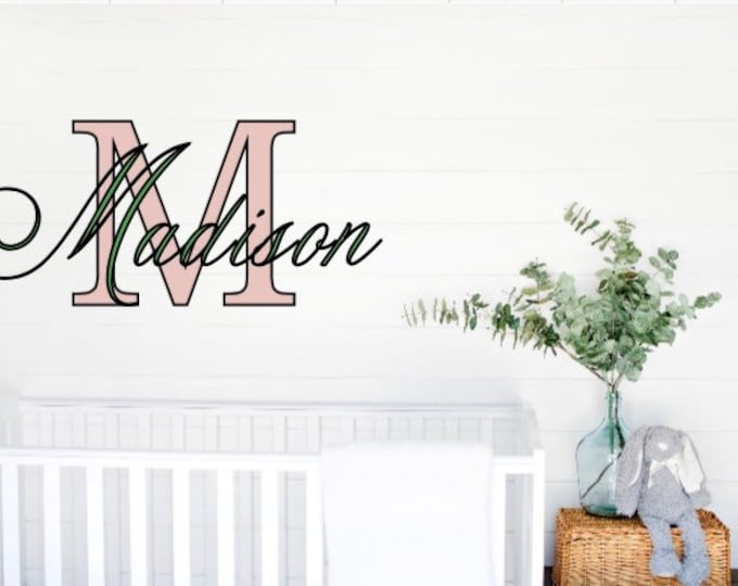Nursery wall decal. Monogram name and letter decal. Kid's room name decals. Custom name decal for wall. Bedroom  name wall decals