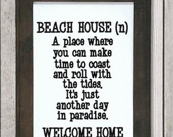 Beach House definition sign. Beach house signs. Signs for beach house. Beach house decor. Beach themed decor. Beach themed wall hanging