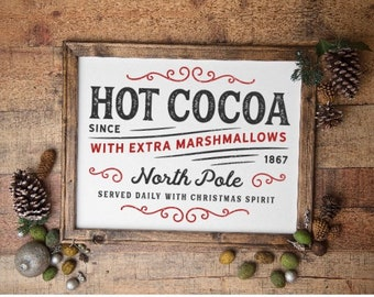 Hot Cocoa sign. Hot chocolate signs. Hot Cocoa station signs. Winter signs. Christmas signs. marshmallows  North Pole Hot Cocoa sign.