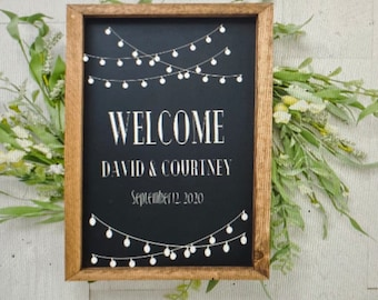 Welcome sign decals. Wedding sign decals.  String lights decals.. Choose your font! Choose your saying! Wedding decal for sign.