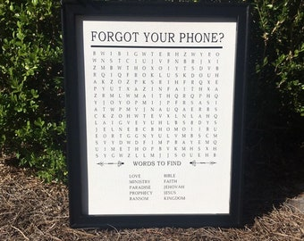 Bathroom word search sign. Forgot your phone? Christian word search sign. Bible version. Crossword sign Bathroom signs powder room signs