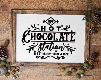 Hot chocolate station sign. Winter sign winter signs Hot Chocolate sign Winter Decor Hot chocolate sign