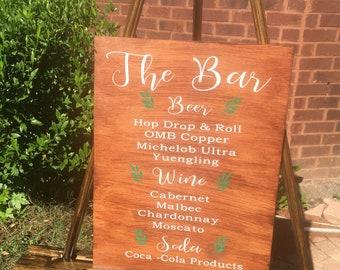 Wedding bar menu wood bar nenu wedding reception signs drink menu wood drinks menu