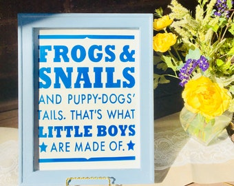 Nursery room sign for baby boy. frogs, snails, puppy dog tails little boys made of over the crib wood framed signs canvas nursery signs