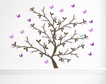 Cherry blossom tree decal. Butterfly stickers for wall. Large tree wall decal. Tree with butterflies. Girl's bedroom wall decals.