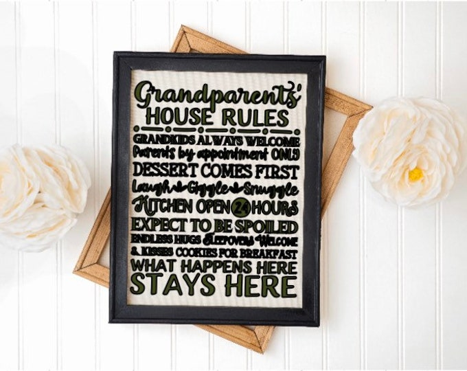 Granparents' house rules. Grandma's house rules, grandpa, nana, Gigi, gift for grandparents, Mother's Day gift. Custom sign. Personalized