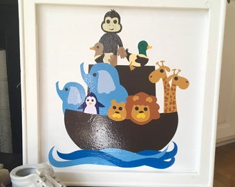 Noah's Ark baby infant nursery sign wood framed canvas picture. baby boy baby girl sign over the crib sign
