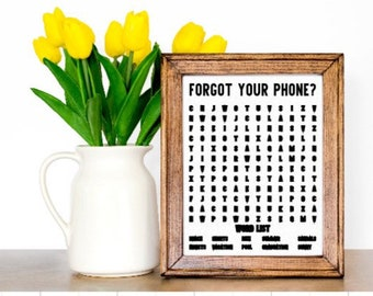 Forgot your phone? Summer bathroom word search sign. Summer theme bathroom sign. Bathroom signs bathroom decor restroom sign restroom decor