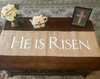 He is Risen Easter burlap rustic table runner holiday custom Easter table decoration Easter decor Christian Easter table runner
