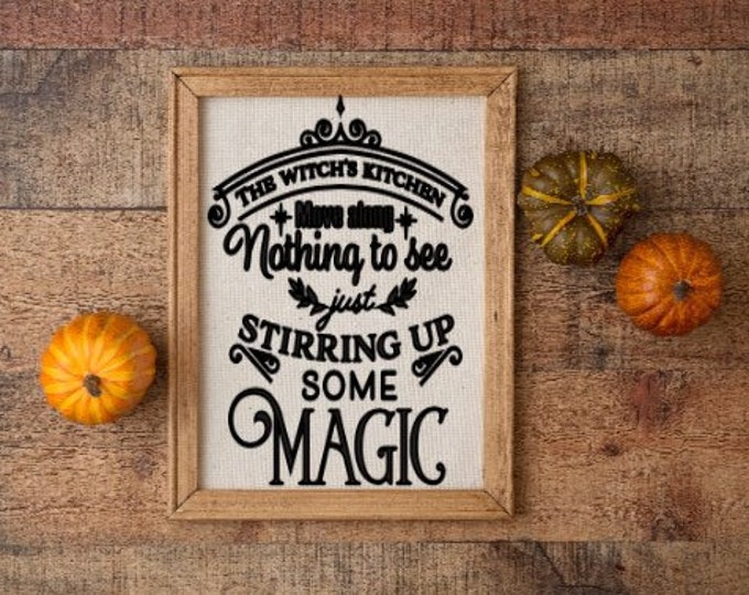 Halloween kitchen sign The witch's kitchen stirring up some magic fall decor Halloween sign witch signs wood framed canvas custom