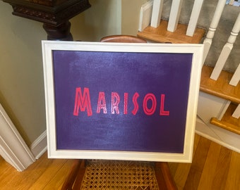 Custom framed baby name sign. Nursery decor wood framed baby boy baby girl signs kids room sign Pick your font.
