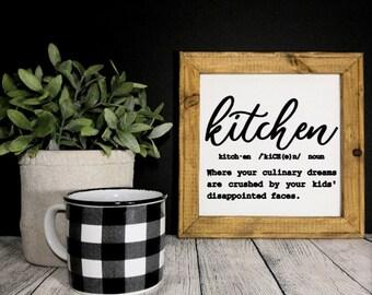 Kitchen definition sign. Kitchen decor. kitchen signs. Custom kitchen sign. Funny definition of kitchen. Gift for mom