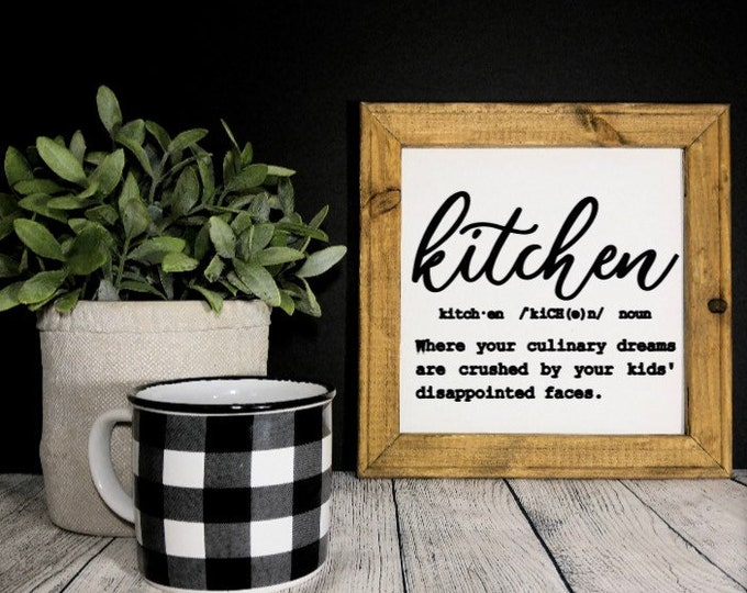 Kitchen definition sign. Kitchen decor. kitchen signs. Custom kitchen sign. Funny definition of kitchen. Gift for mom
