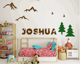 Forest themed wall decals. Forest animal decals. Name in a forest theme stickers. Bedroom wall stickers.