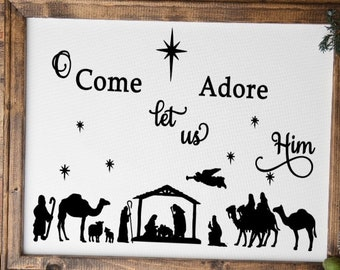 Framed Nativity Christmas sign. Christmas signs, manger sign O Come Let Us Adore Him sign. Christian Christmas decor.