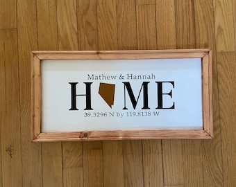 Custom HOME sign with state with coordinates, State signs state home sign.. New Homeowner sign.  Home with latitude longitude