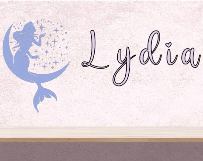 Mermaid wall decal with name. Custom mermaid wall decals. Name with mermaid bedroom wall decal. Wall stickers. Mermaid and moon decal