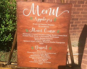 Wedding menu sign wood wedding decor wedding signs menu board wedding dinner menu wooden wedding signs
